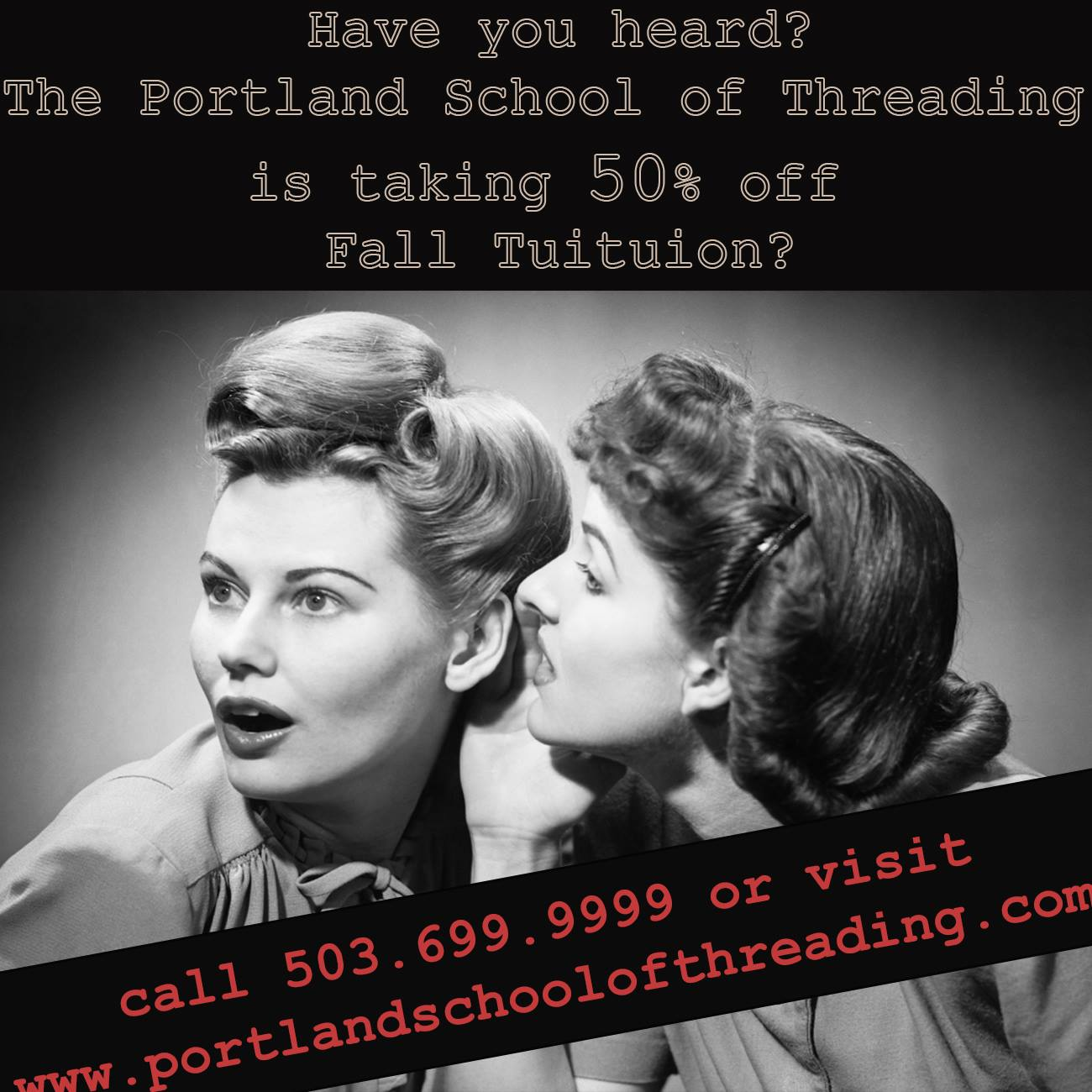 portland school of threading 50% off tuition
