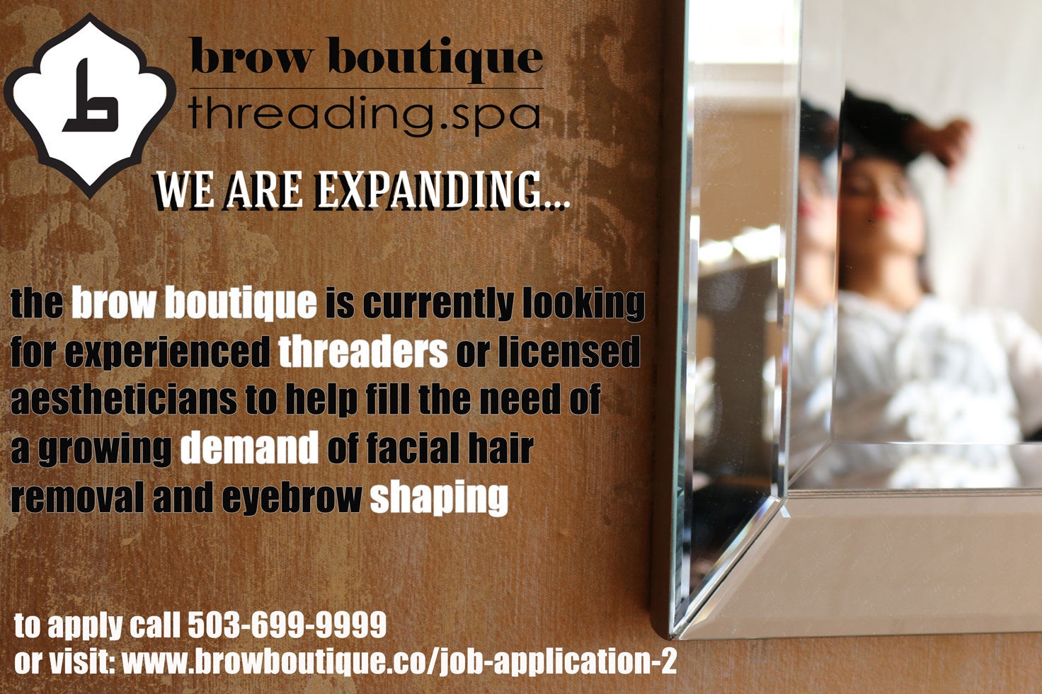 threaders wanted at the brow boutique